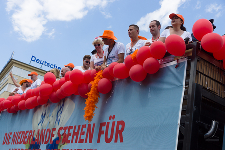 homophobia: BERLIN, GERMANY - JUNE 22, 2013: Christopher Street Day. The annual European LGBT celebration and demonstration for the rights of LGBT people. Participants from the Netherlands.
