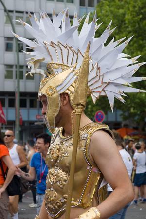 BERLIN, GERMANY - JUNE 22, 2013: Christopher Street Day. The annual European LGBT celebration and demonstration for the rights of LGBT people. Participants in the armor of the Roman legionaries.