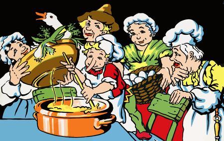 cocina vieja: Una ilustración sobre el motivo de un cuento de hadas poco de pico largo.