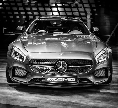 BERLIN - AUGUST 09, 2016: Showroom. Sports car Mercedes-AMG GT S Coupe (C190). Black and white. Produced since 2015.