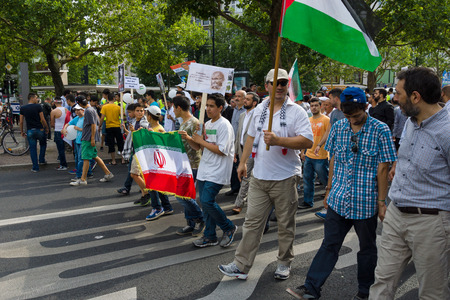 zionism: BERLIN, GERMANY - AUGUST 03, 2013: International Quds Day. Demonstrators on the Kurfuerstendamm. Editorial