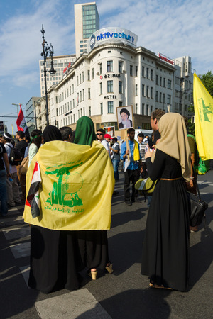 zionism: BERLIN, GERMANY - AUGUST 03, 2013: International Quds Day. Demonstrators on the Kurfuerstendamm. Editorial