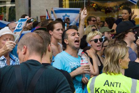 zionism: BERLIN, GERMANY - AUGUST 03, 2013: International Quds Day. Anti-Arab and anti-Palestinian protests of the Jewish Diaspora of Berlin.