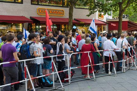 diaspora: BERLIN, GERMANY - AUGUST 03, 2013: International Quds Day. Anti-Arab and anti-Palestinian protests of the Jewish Diaspora of Berlin.