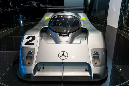 introduced: BERLIN - NOVEMBER 03, 2013: Showroom. The sports-prototype racing car Sauber Mercedes C291 introduced for the 1991 World Sportscar Championship season. Pilots Michael Schumacher and Karl Wendlinger. Editorial