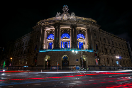 BERLIN - OCTOBER 08, 2016: The Museum of Communication (during the time of the Kaiser - the imperial post office building) in evening lighting.
