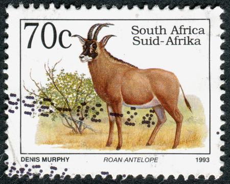 rsa: SOUTH AFRICA - CIRCA 1993: A stamp printed in South Africa, shows the animal Roan Antelope (Hippotragus equinus), circa 1993 Editorial