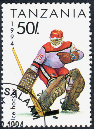 olympics: TANZANIA - CIRCA 1994: A stamp printed in Tanzania dedicated to Winter Olympics Game in Lillehammer, shows Ice Hochey, circa 1994 Editorial