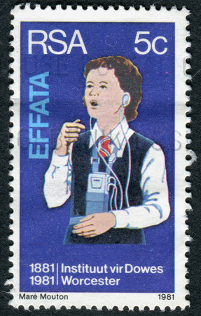 rsa: SOUTH AFRICA - CIRCA 1981: A stamp printed in South Africa, dedicated to Deaf and Blind Institute, Worcester, shows a Deaf Girl Learning to Speak, circa 1981 Editorial