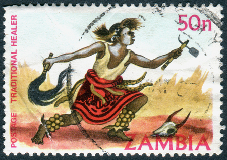 healer: ZAMBIA - CIRCA 1981: A stamp printed in Zambia, is dedicated to Cultural Heritage, shows a Traditional healer, circa 1981 Editorial