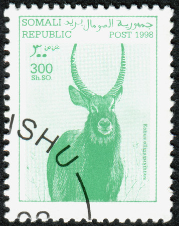 somalia: SOMALIA - CIRCA 1998: A stamp printed in Somalia, shows the animal Waterbuck (Kobus ellipsiprymnus), circa 1998