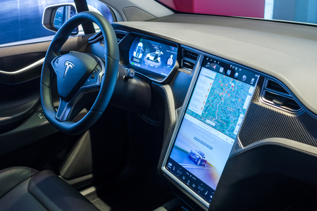 BERLIN - NOVEMBER 09, 2016: Showroom. The dashboard of a full-sized, all-electric, luxury, crossover SUV Tesla Model X. Produced since 2016. Editoriali