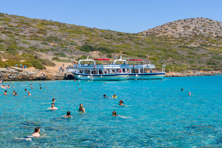 CRETE, GREECE - JULY 11, 2016: Beautiful bay. Kolokitha beach. Peninsula Kalydon. The island of Crete. A popular tourist destination. Editorial