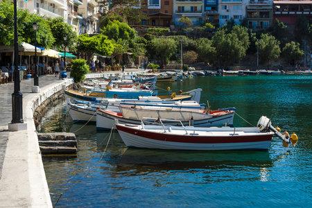 elite: CRETE, GREECE - JULY 11, 2016: The embankment of a coastal elite tourist town on the Greek island of Crete - Agios Nikolaos.