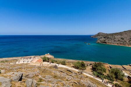View of the Gulf of Elounda from a fortress on Spinalonga island. Stock Photo