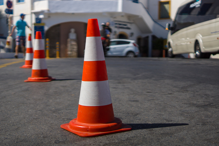 foreground: Traffic cone for traffic control. Focus on the foreground. Stock Photo