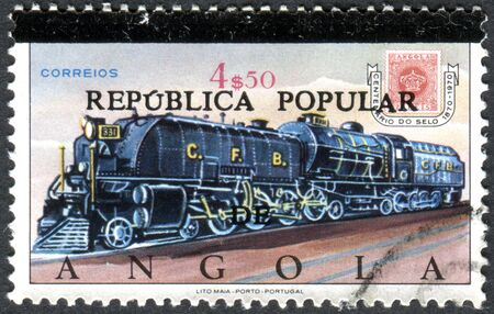 overprint: ANGOLA - CIRCA 1970: A stamp printed in Angola (overprint 1980), shows the Steam locomotive and Angola, circa 1970 Editorial