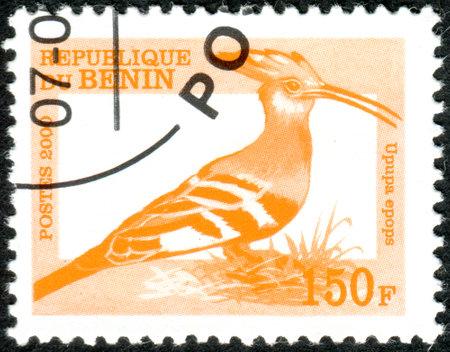 BENIN - CIRCA 2000: A stamp printed in Benin, shows a bird Eurasian Hoopoe (Upupa epops), circa 2000