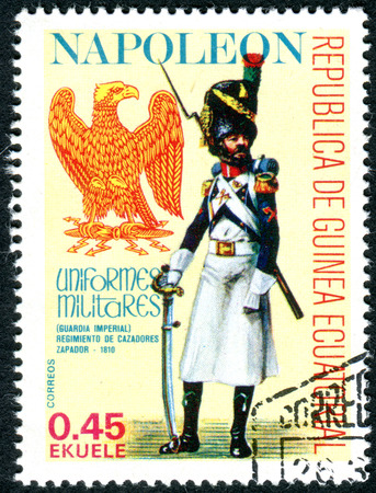 napoleon i: EQUATORIAL GUINEA - CIRCA 1977: A stamp printed in Equatorial Guinea, shows the Military Uniform sapper of the Imperial Guard Jaeger Regiment during the time of Napoleon I, circa 1977