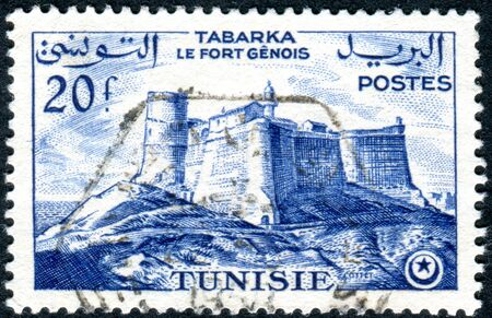 genoese: TUNISIA - CIRCA 1954: A stamp printed in Tunisia, shows the Genoese fortress in Tabarka, circa 1954