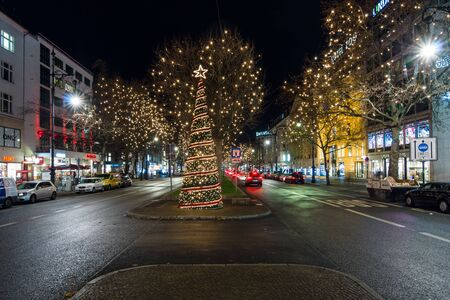 BERLIN - DECEMBER 07, 2016: The famous shopping street of West Berlin, Kurfurstendamm in the Christmas illuminations.