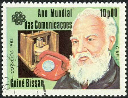 innovator: GUINEA - BISSAU - CIRCA 1983: A stamp printed in Guinea-Bissau, dedicated to the World Communications Year, shows a Scottish-born scientist, inventor, engineer and innovator Alexander Graham Bell, circa 1983
