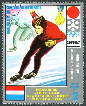 EQUATORIAL GUINEA - CIRCA 1972: A stamp printed in Equatorial Guinea, shows the Adrianus Ard Schenk - Medalists of the Winter Olympics 1972, Sapporo, circa 1972 Editorial