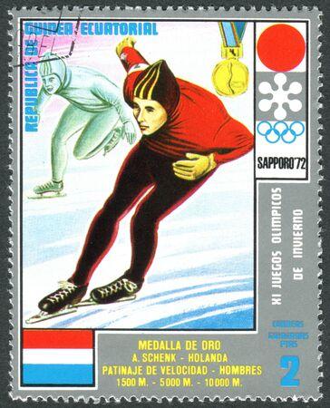 """GUINEA ECUATORIAL - CIRCA 1972: Un sello impreso en Guinea Ecuatorial, muestra los Adrianus """"Ard Schenk -"""" ganadores de la medalla de los Juegos Olímpicos de Invierno de 1972, Sapporo, alrededor de 1972"""