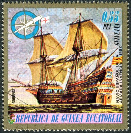EQUATORIAL GUINEA - CIRCA 1975: A stamp printed in Equatorial Guinea, shows a Spanish warship (1588), circa 1975