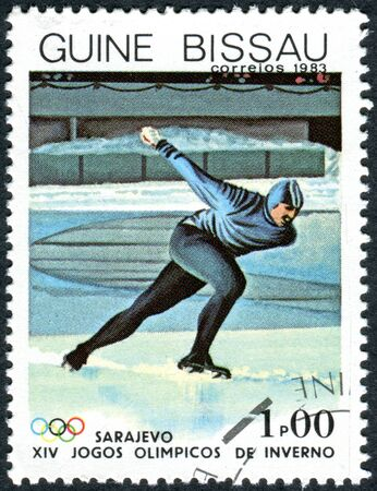 GUINEA - BISSAU - CIRCA 1983: A stamp printed in Guinea-Bissau, dedicated to Winter Olympic Games - Sarajevo 84, shows the Speed skating, circa 1983