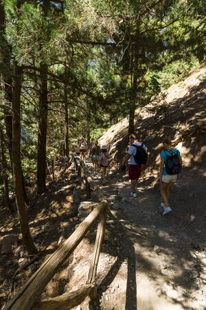 samaria: CRETE, GREECE - JULY 14, 2016: Samaria Gorge - a major tourist attraction of the island.