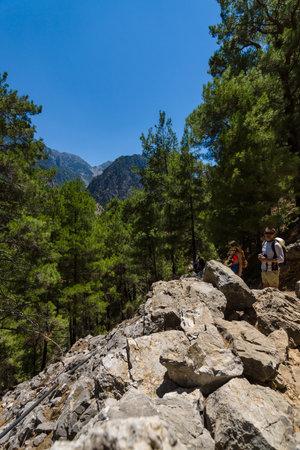 CRETE, GREECE - JULY 14, 2016: Samaria Gorge - a major tourist attraction of the island.