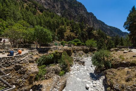 samaria: Samaria Gorge. The ruins of an abandoned village. Island of Crete. Greece.
