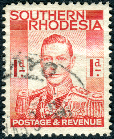 vi: SOUTHERN RHODESIA - CIRCA 1937: A stamp printed in Southern Rhodesia, shows the portrait King George VI, circa 1937