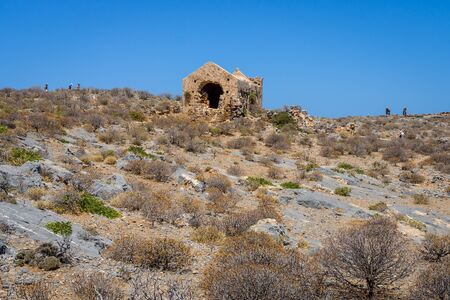 territory: The ruins of a Christian church in the territory of the ancient Venetian fortress on the island Imeri Gramvousa. Mediterranean Sea. Crete. Greece.