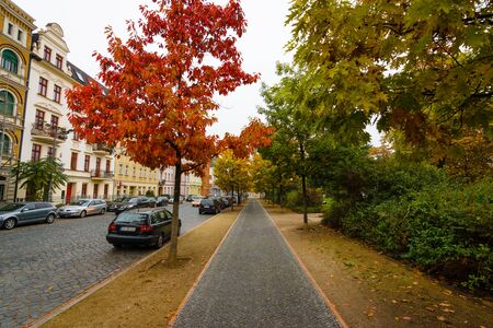 COTTBUS, GERMANY - OCTOBER 18, 2016: Autumn Street. Cottbus is a university and the second-largest city in federal state of Brandenburg.