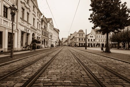 COTTBUS, GERMANY - OCTOBER 18, 2016: The historic part of town (Alt Markt). Cottbus is a university city and the second-largest city in federal state of Brandenburg. Toning. Stylization. Editorial