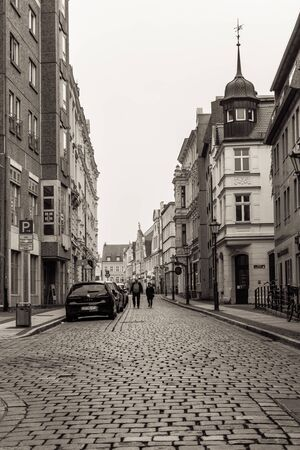 COTTBUS, GERMANY - OCTOBER 18, 2016: The historic part of town (Alt Markt). Cottbus is a university city and the second-largest city in federal state of Brandenburg. Sepia. Editorial