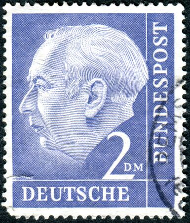 theodor: GERMANY - CIRCA 1954: A stamp printed in Germany, shows the 1st President of the Federal Republic of Germany, Prof. Dr. Theodor Heuss, circa 1954 Editorial