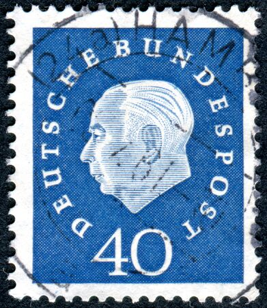 theodor: GERMANY - CIRCA 1959: A stamp printed in Germany, shows the 1st President of the Federal Republic of Germany, Prof. Dr. Theodor Heuss, circa 1959