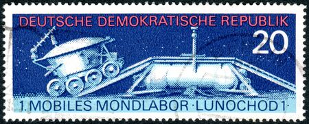GERMANY - CIRCA 1971: A stamp printed in Germany (GDR), shows the first of two unmanned lunar rovers - Lunokhod 1, circa 1971