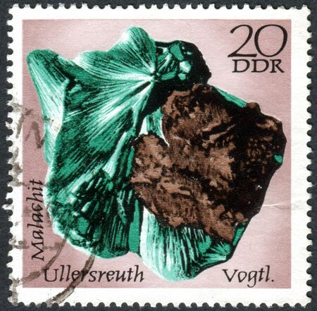 GERMANY - CIRCA 1972: A stamp printed in Germany (GDR), shows the minerals found in East Germany: Malachite, Ullersreuth, circa 1972 Editorial