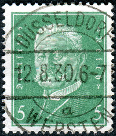 GERMANY - CIRCA 1928: A stamp printed in Germany (Deutsches Reich), shows a portrait of the President of the German Reich Paul von Hindenburg, circa 1928 Editorial