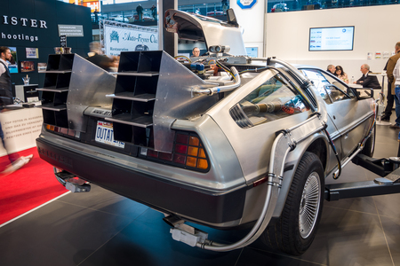 STUTTGART, GERMANY - MARCH 02, 2017: The DeLorean time machine (Back to the Future franchise) based on a DeLorean DMC-12 sports car. Europe's greatest classic car exhibition