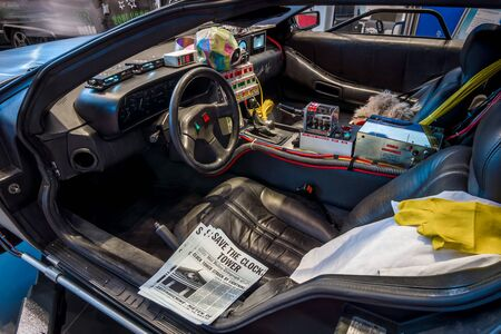 """STUTTGART, GERMANY - MARCH 02, 2017: Cabin of the DeLorean time machine (Back to the Future franchise) based on a DeLorean DMC-12 sports car. Europe's greatest classic car exhibition """"RETRO CLASSICS"""""""