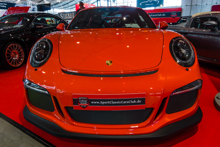 STUTTGART, GERMANY - MARCH 02, 2017: Sports car Porsche 991911 GT3 RS, 2017. Europes greatest classic car exhibition RETRO CLASSICS