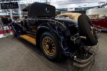 STUTTGART, GERMANY - MARCH 02, 2017: Luxury car Mercedes 630 Typ 24100140 PS Murphy, 1924. Rear view. Europes greatest classic car exhibition RETRO CLASSICS