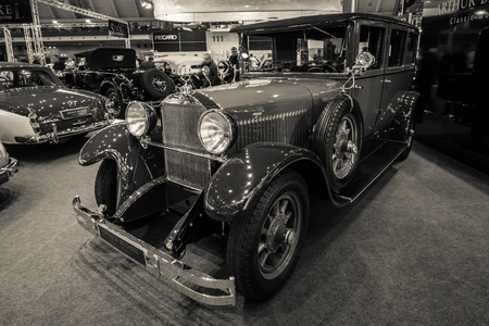 STUTTGART, GERMANY - MARCH 02, 2017: Luxury car Mercedes-Benz 300 Typ 1255 PS, 1926. Stylization. Sepia toning. Europes greatest classic car exhibition RETRO CLASSICS