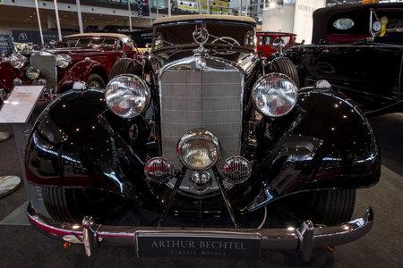 STUTTGART, GERMANY - MARCH 02, 2017: Luxury car Mercedes-Benz Typ 320 Cabriolet D (W142), 1939. Europes greatest classic car exhibition RETRO CLASSICS