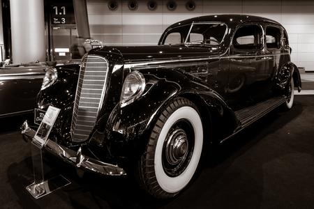 STUTTGART, GERMANY - MARCH 02, 2017: Luxury car Lincoln Model K, 1937. Stylization. Toning. Europes greatest classic car exhibition RETRO CLASSICS Editorial